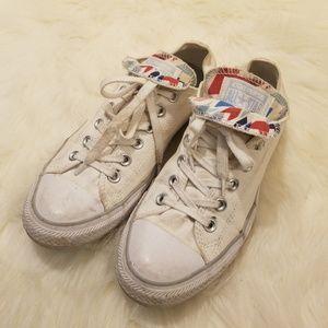 Converse White LowTop DoubleTag Union Jack Sneaker